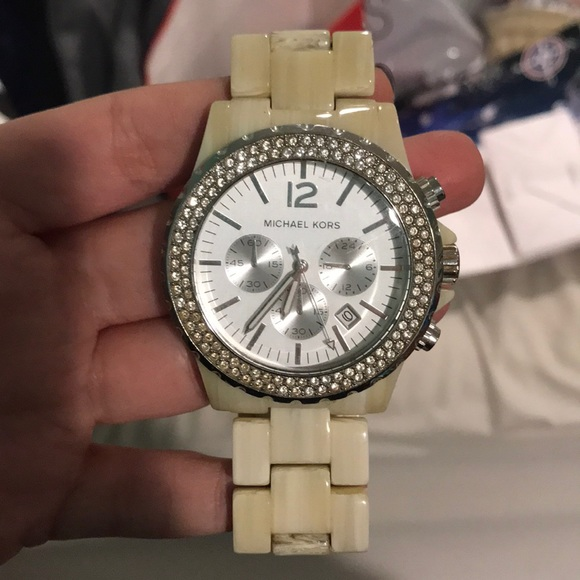 e2748d4f6a507 Michael Kors Cream Colored Rhinestone Watch. M 5bfc8dece944ba4d742cf94a
